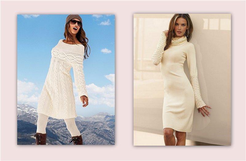 Модные вязаные платья 2012