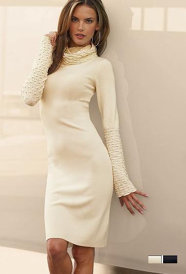 Вязаные зимние платья туники